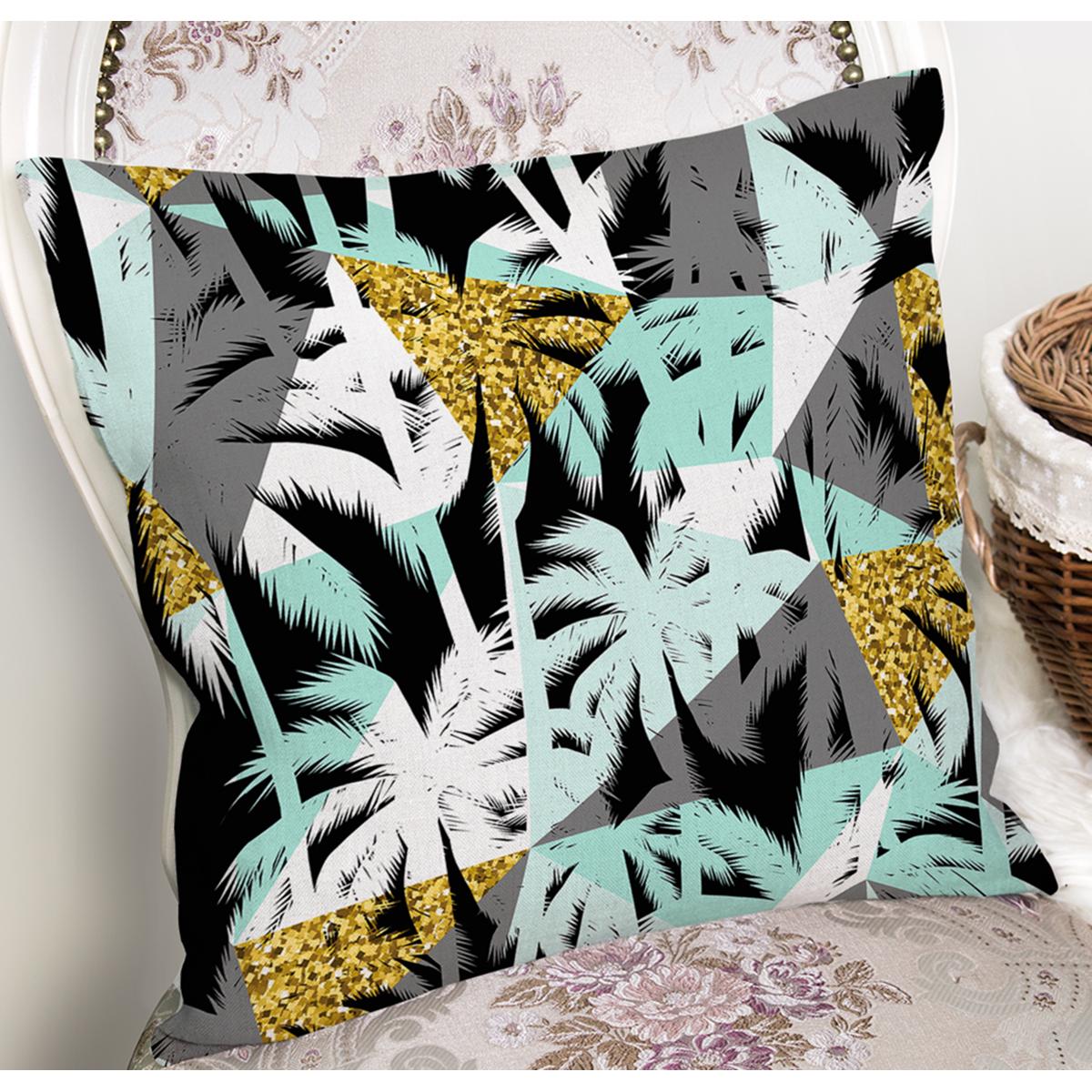 Beyaz Zeminli Renkli Palmiye Desenli Dijital Baskılı Modern Yastık Kırlent Kılıfı Realhomes