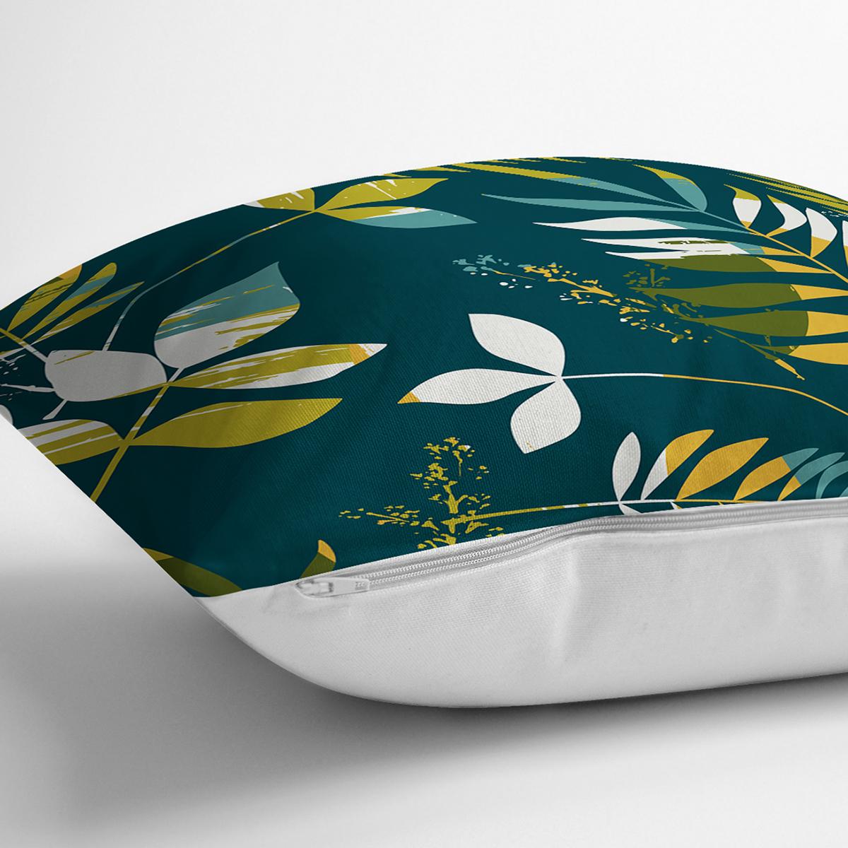 Renkli Zemin Üzerinde Yaprak Motifli Dijital Baskılı Modern Yastık Kırlent Kılıfı Realhomes