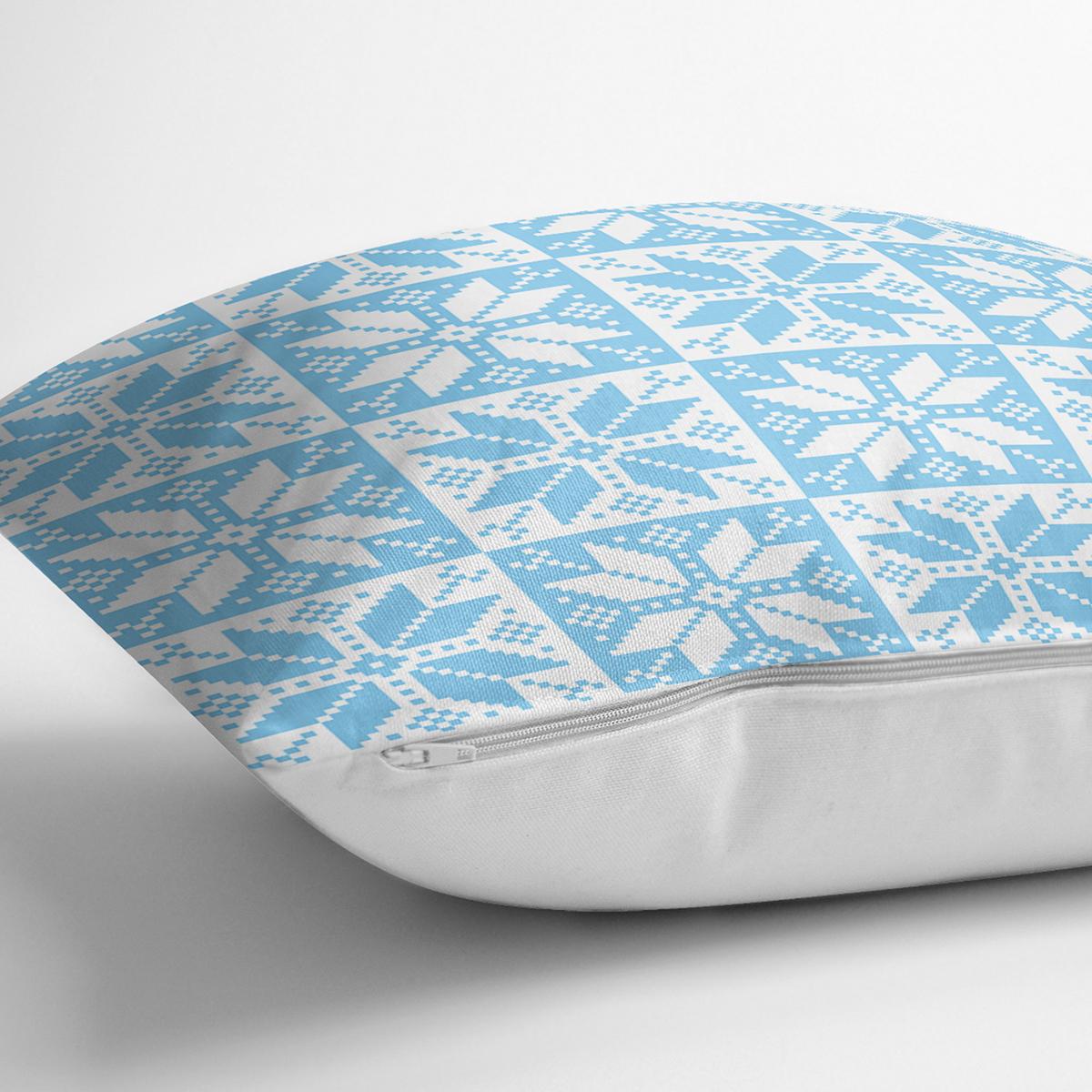 Mavi Zemin Üzerinde Kartanesi Motifli Dijital Baskılı Modern Yastık Kırlent Kılıfı Realhomes