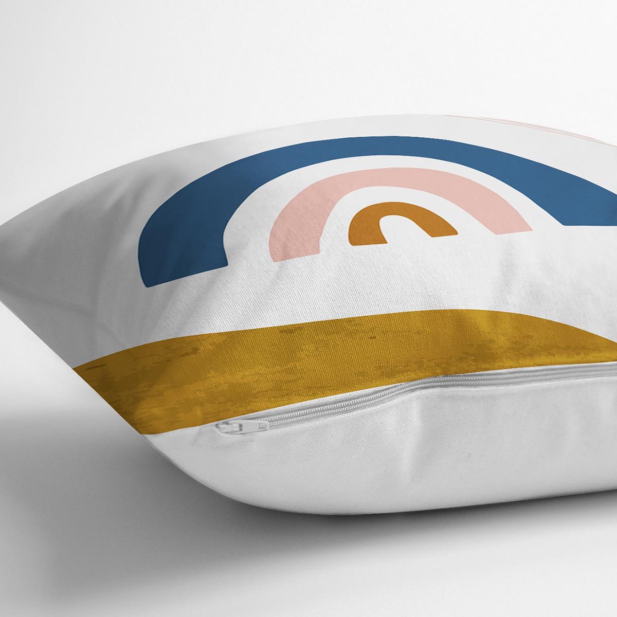 Pastel Renkli Zeminli Onedraw Çizimli Dijital Baskılı Modern Yastık Kırlent Kılıfı Realhomes