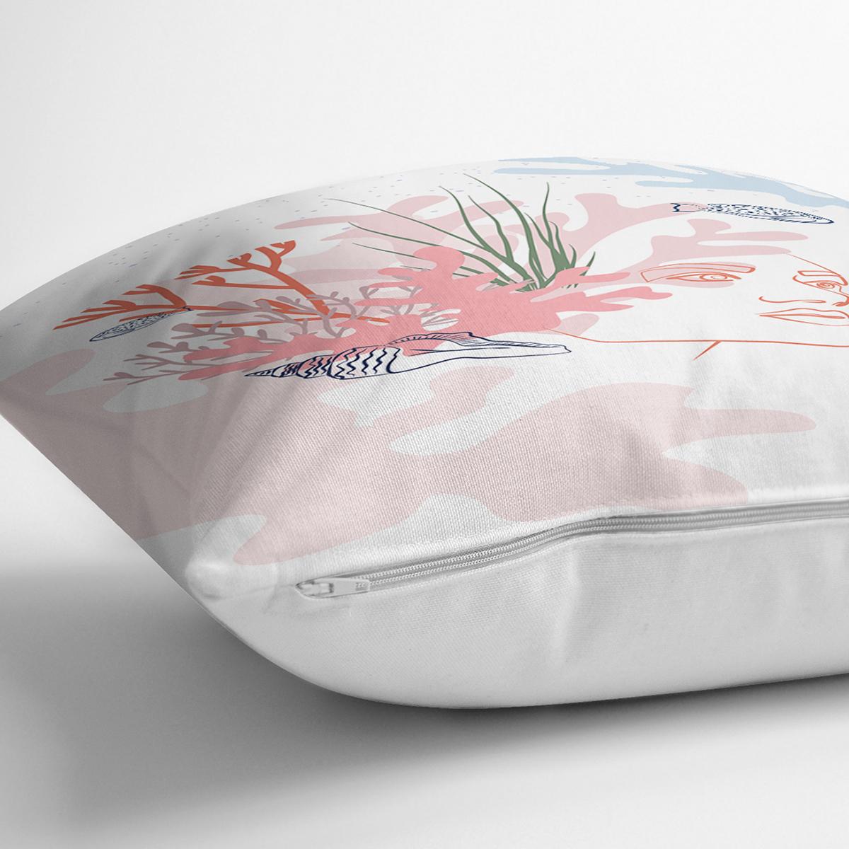 Beyaz Zemin Üzerinde Botanical Face Dijital Baskılı Modern Yastık Kırlent Kılıfı Realhomes
