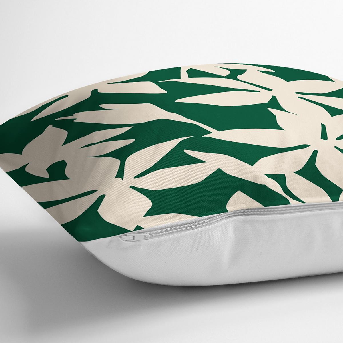 Yeşil Zeminde Yaprak Desenli Dijital Baskılı Modern Yastık Kırlent Kılıfı Realhomes
