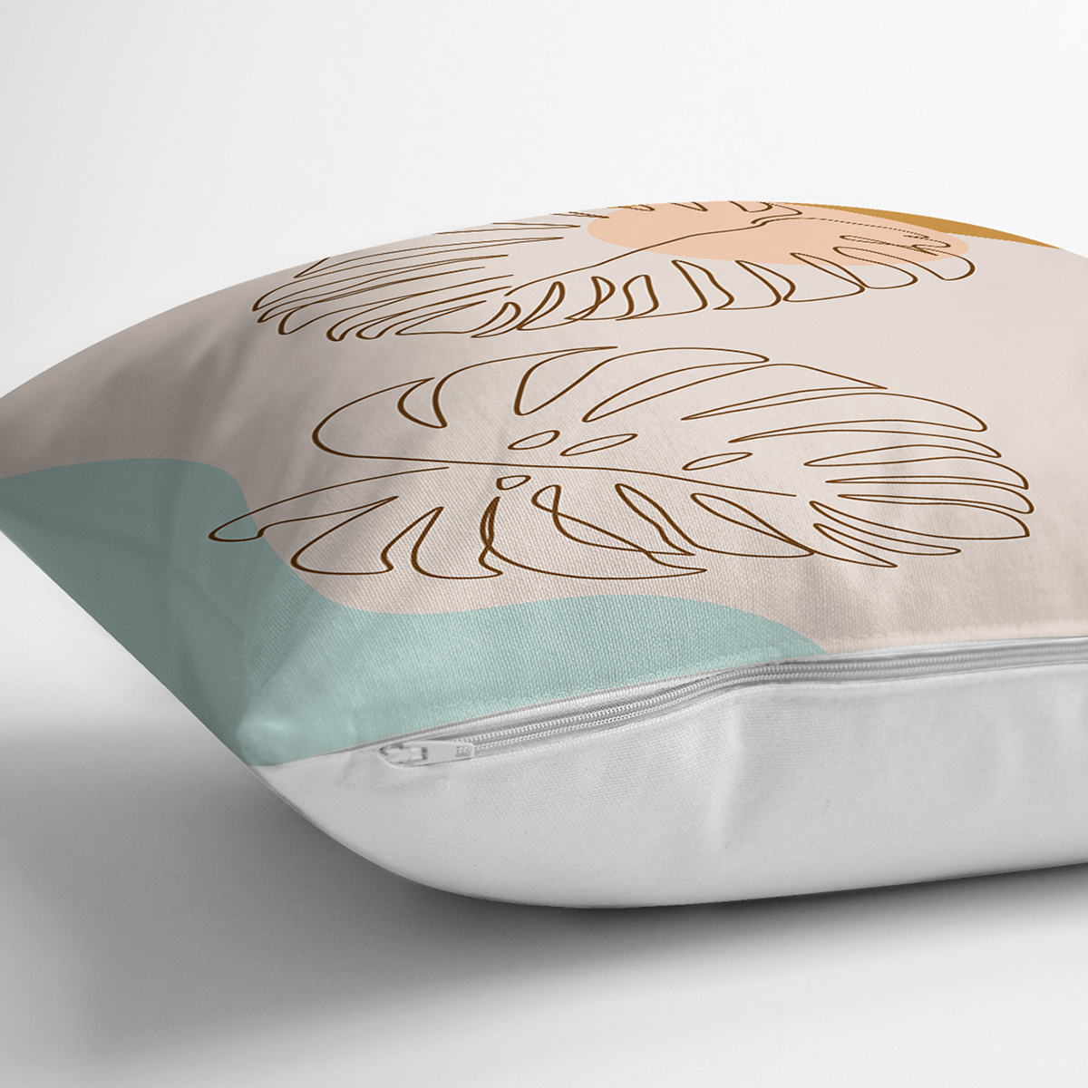 Renkli Zeminli Onedraw Çizimli Yaprak Desenli Dijital Baskılı Modern Yastık Kılıfı Realhomes
