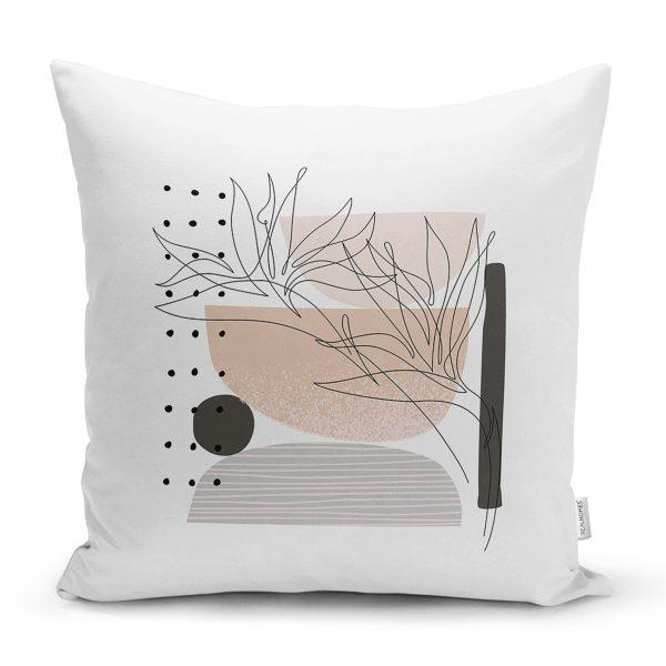 Renkli Zemin Üzerinde Geometrik Çizim Dijital Baskılı Modern Yastık Kırlent Kılıfı Realhomes