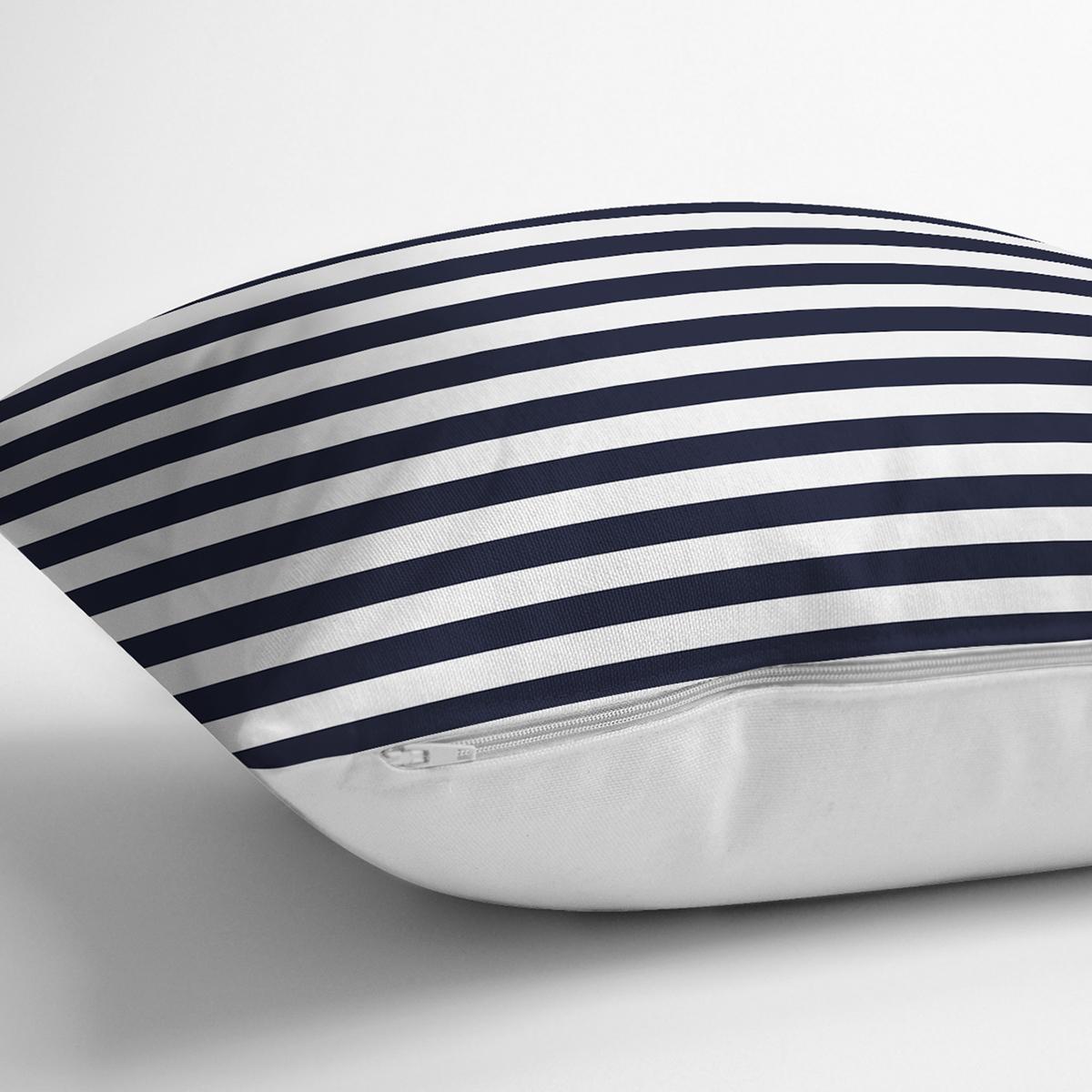 Beyaz Zemin Üzerinde Renkli Çizgili Dijital Baskılı Modern Yastık Kırlent Kılıfı Realhomes