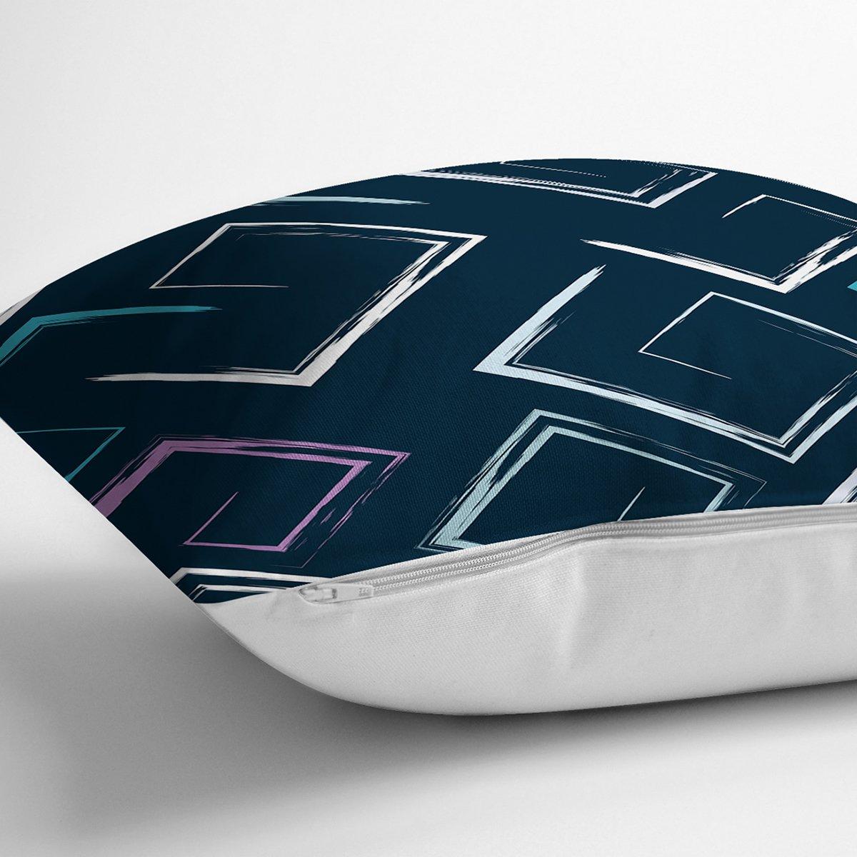 Siyah Zemin Üzerinde Renkli Geometrik Desenli Dijital Baskılı Modern Yastık Kılıfı Realhomes