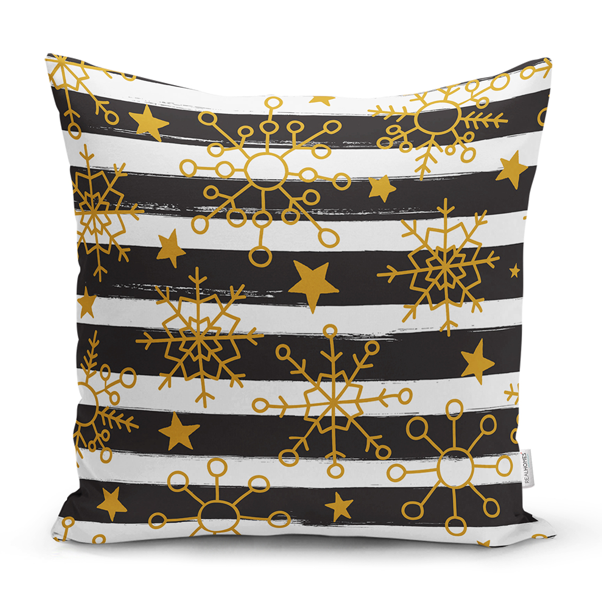 Beyaz Zemin Üzerinde Siyah Dekoratif Çizgili Gold Desenli Kartanesi Kırlent Kılıfı Realhomes