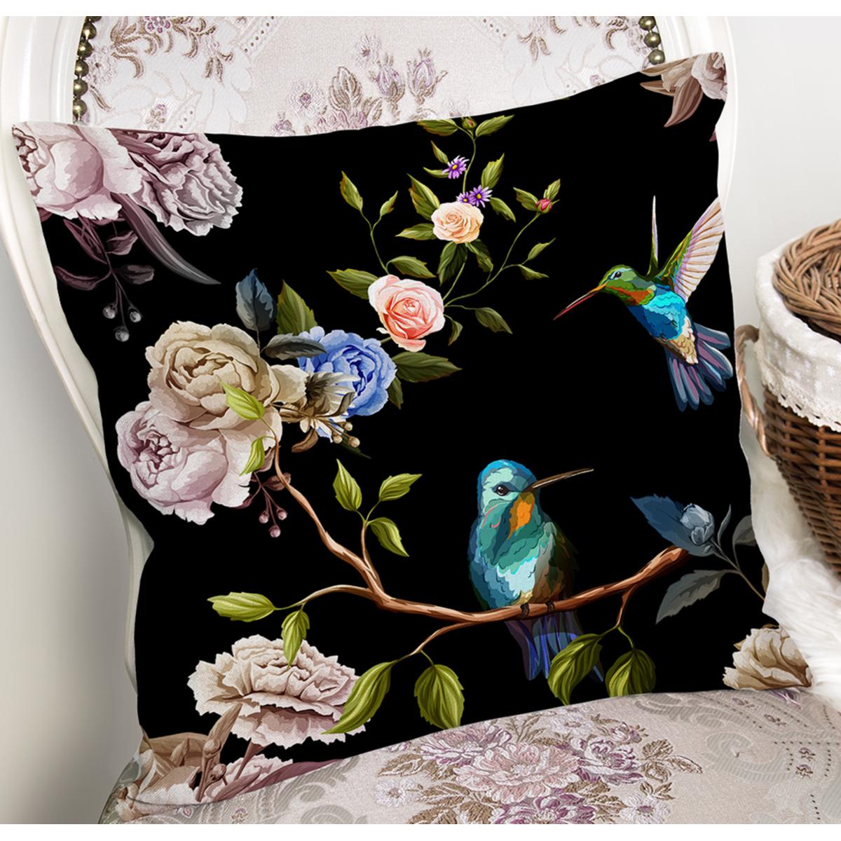 Siyah Zemin Üzerinde Kuş Desenli Dijital Baskılı Modern Yastık Kırlent Kılıfı Realhomes