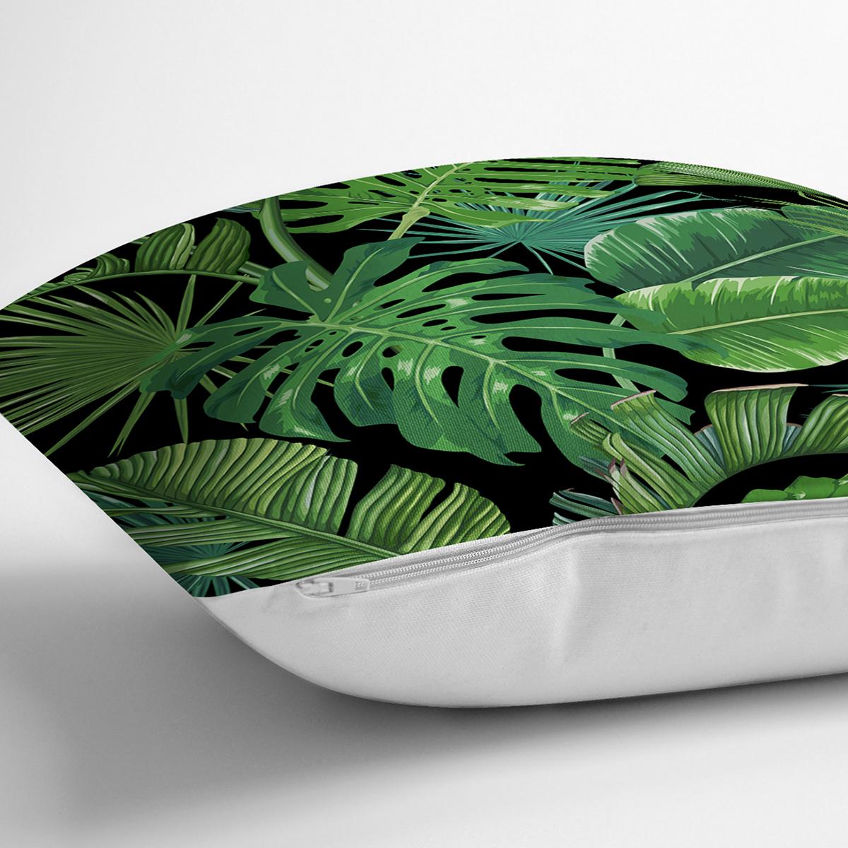 Siyah Zemin Üzerinde Yeşil Yaprak Desenli Yastık Kırlent Kılıfı Realhomes