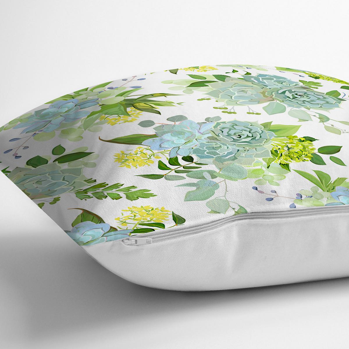 Beyaz Zemin Üzerinde Yeşil Renkli Çiçek Desenli Modern Yastık Kırlent Kılıfı Realhomes