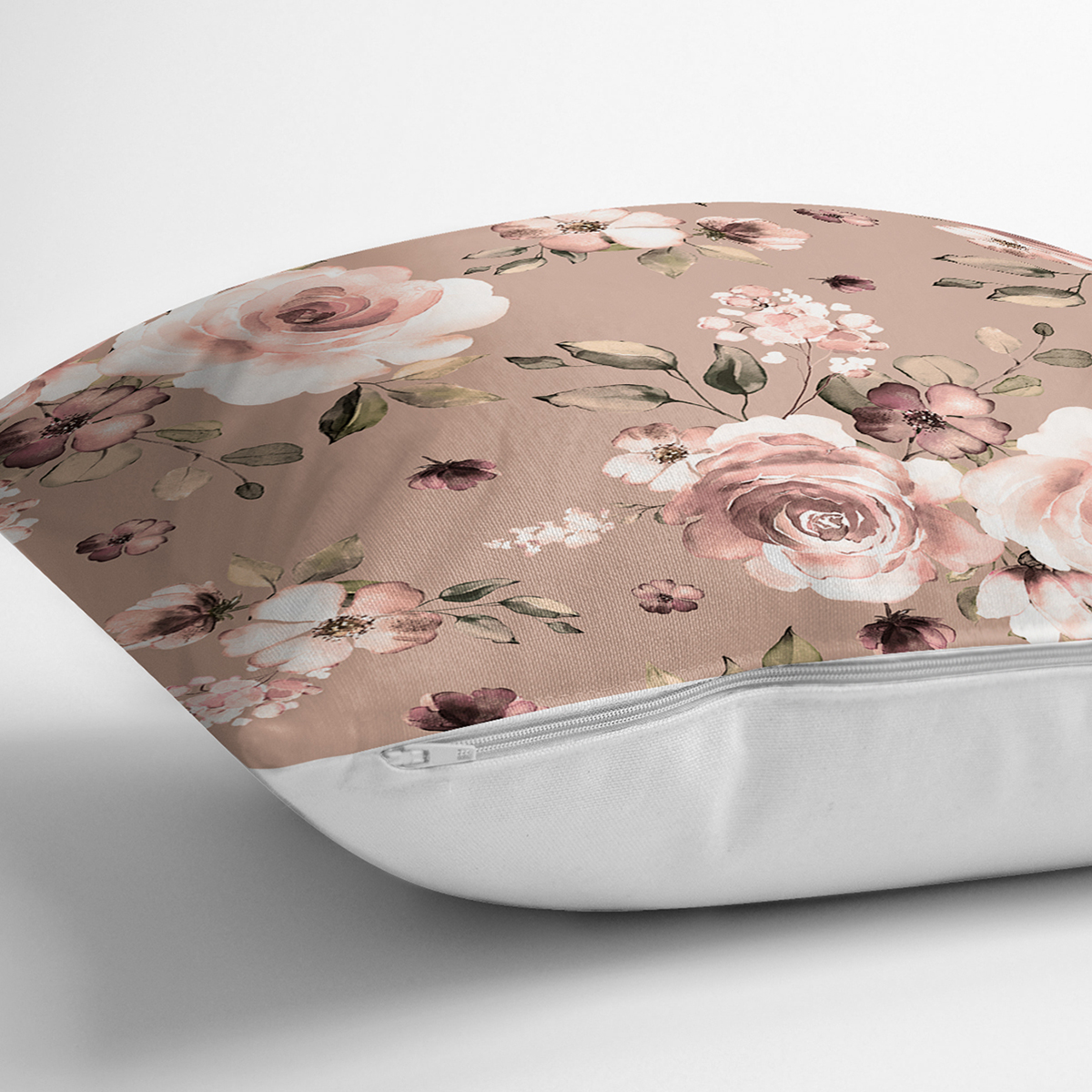 Pastel Zeminli Renkli Çiçek Desenli Dijital Baskılı Modern Yastık Kırlent Kılıfı Realhomes