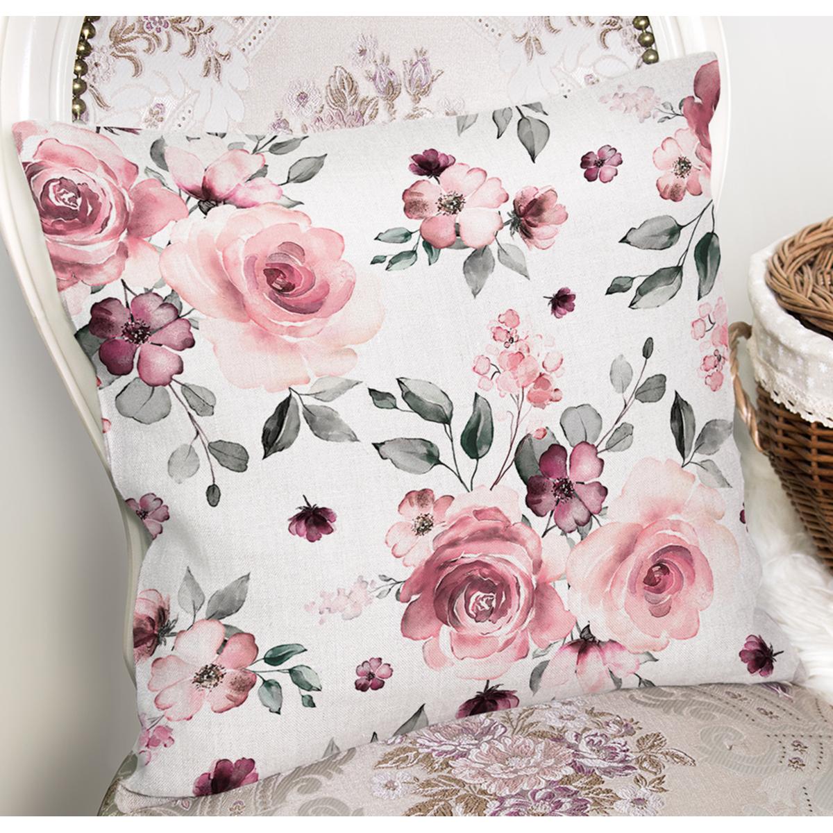 Beyaz Zemin Üzerinde Renkli Çiçek Desenli Yastık Kırlent Kılıfı Realhomes