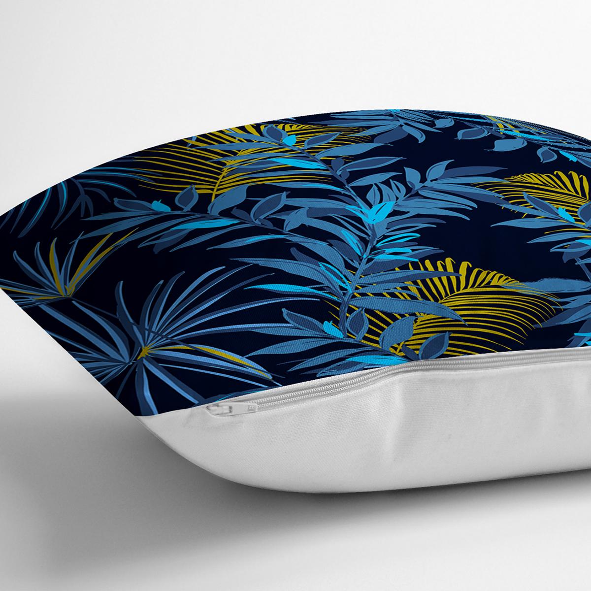 Siyah Zemin Üzerinde Gold Detaylı Mavi Yaprak Desenli Yastık Kırlent Kılıfı Realhomes