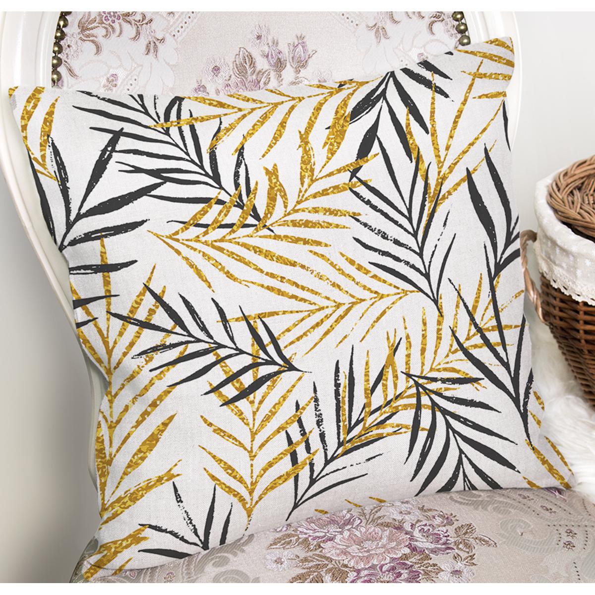 Beyaz Zemin Üzerinde Gold Detaylı Yaprak Desenli Modern Yastık Kırlent Kılıfı Realhomes