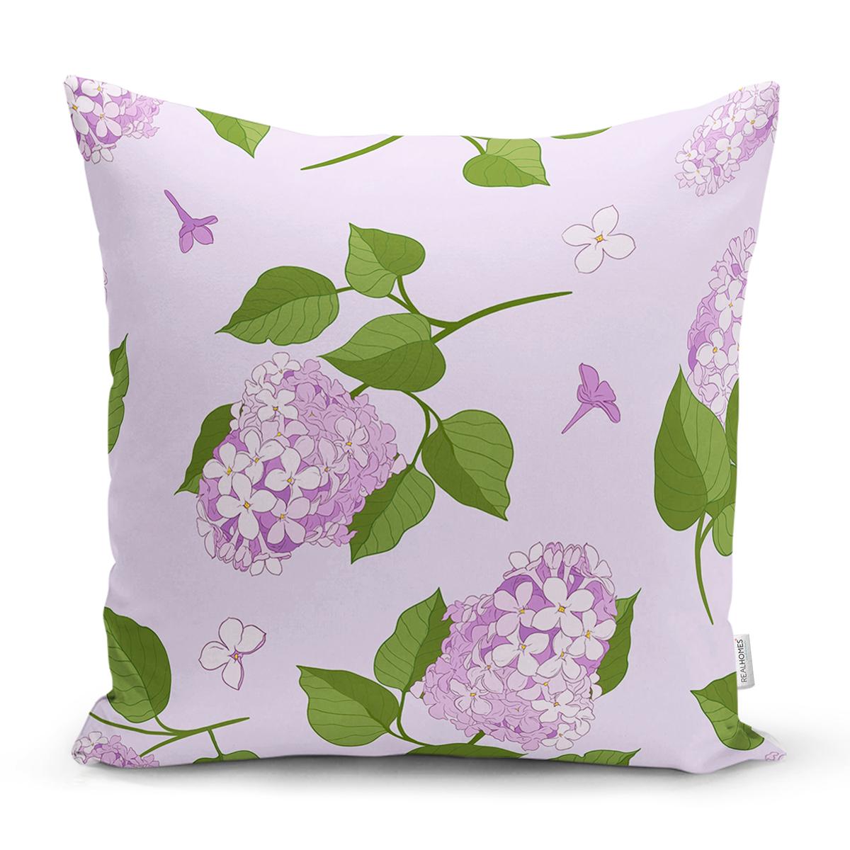 Renkli Zemin Üzerinde Yeşil Yapraklı Çiçek Desenli Modern Yastık Kırlent Kılıfı Realhomes