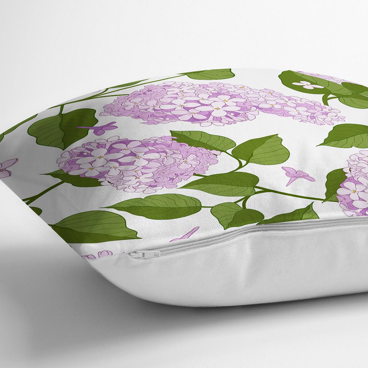 Beyaz Zemin Üzerinde Yeşil Yapraklı Çiçek Desenli Modern Yastık Kırlent Kılıfı Realhomes