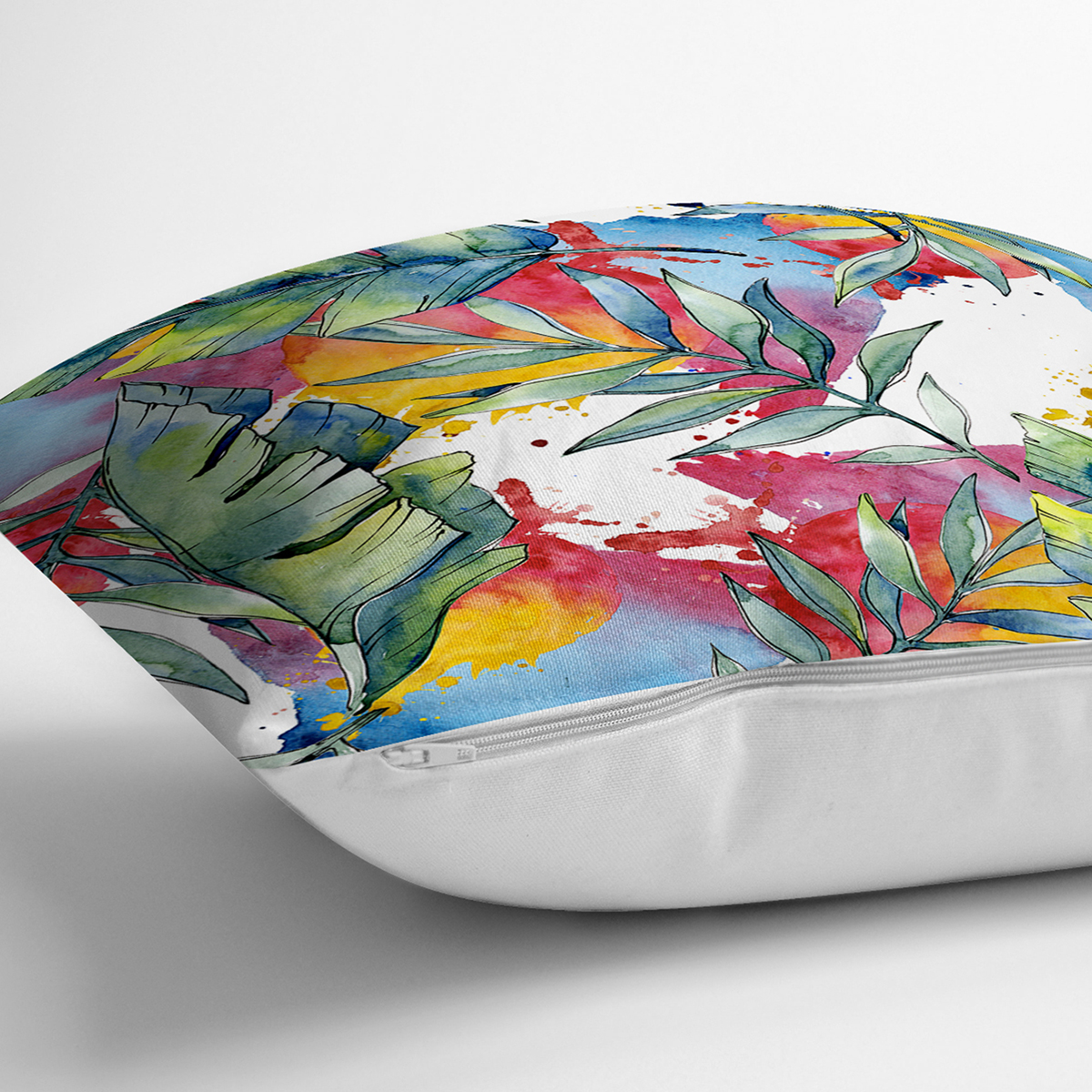 Beyaz Zemin Üzerinde Yaprak Desenli Dijital Baskılı Modern Yastık Kırlent Kılıfı Realhomes