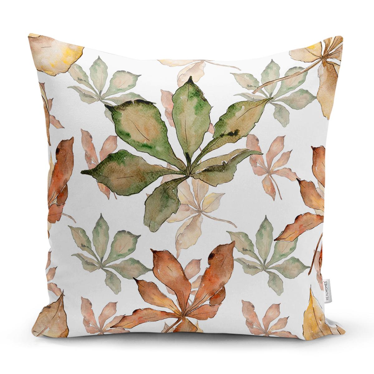Beyaz Zeminli Sonbahar Yaprak Desenli Dijital Baskılı Modern Yastık Kırlent Kılıfı Realhomes