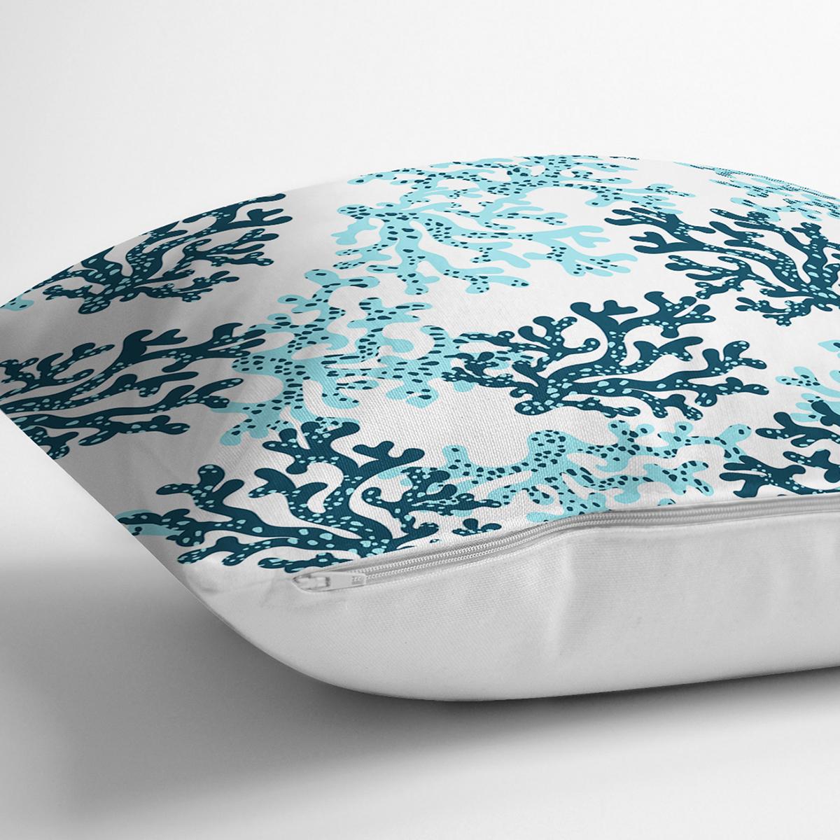 Beyaz Zemin Üzerinde Renkli Deniz Otu Desenli Dijital Baskılı Modern Yastık Kılıfı Realhomes