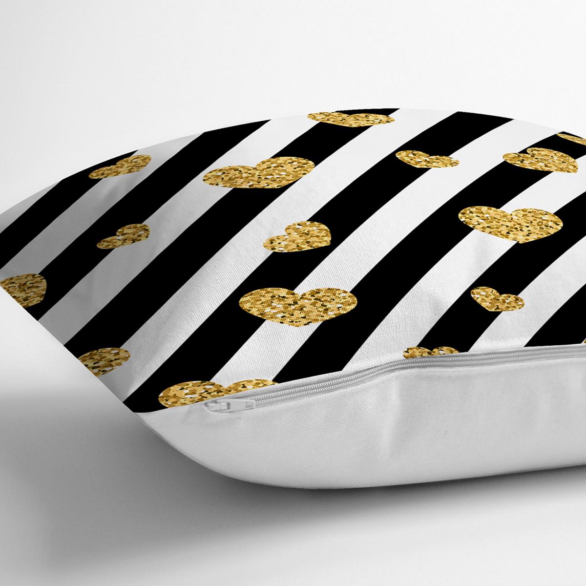 Beyaz Zeminli Gold Detaylı Kalp Dijital Baskılı Modern Yastık Kırlent Kılıfı Realhomes