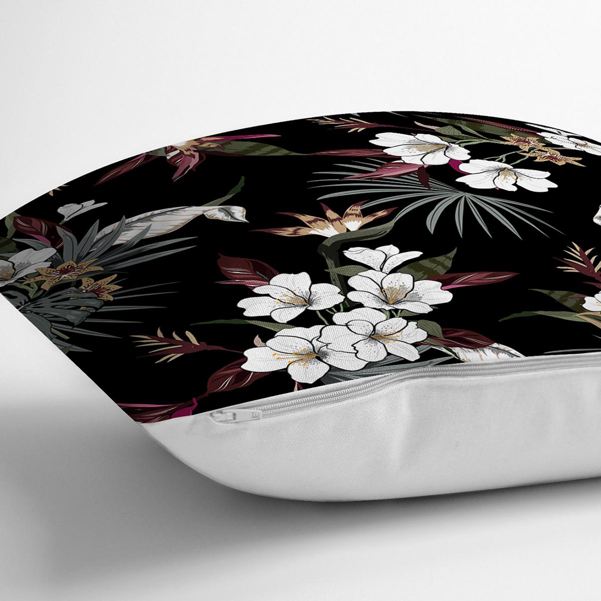 Siyah Zeminli Beyaz Çiçek Desenli Dijital Baskılı Modern Yastık Kırlent Kılıfı Realhomes