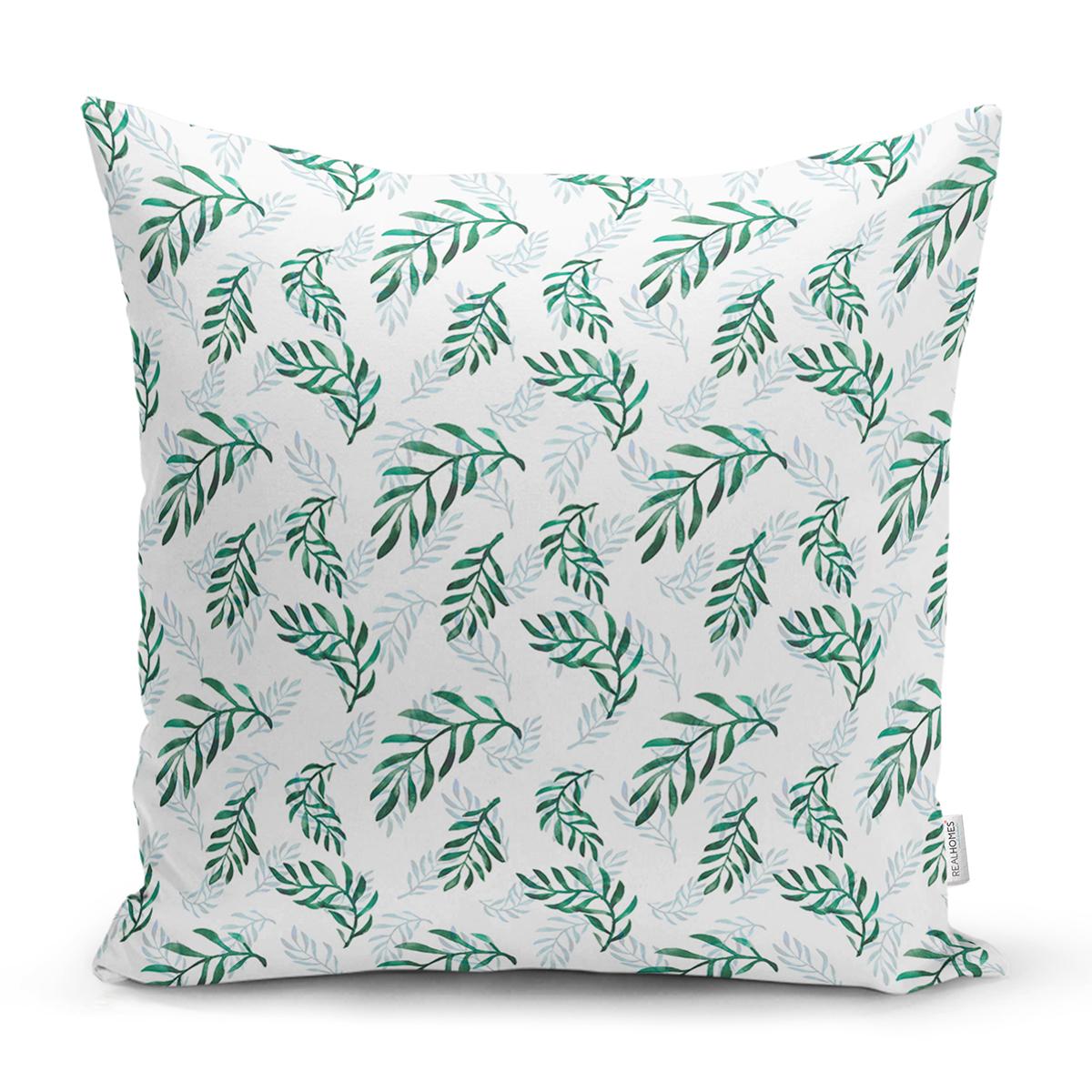 Beyaz Zemin Üzerinde Yeşil Yaprak Desenli Yastık Kırlent Kılıfı Realhomes