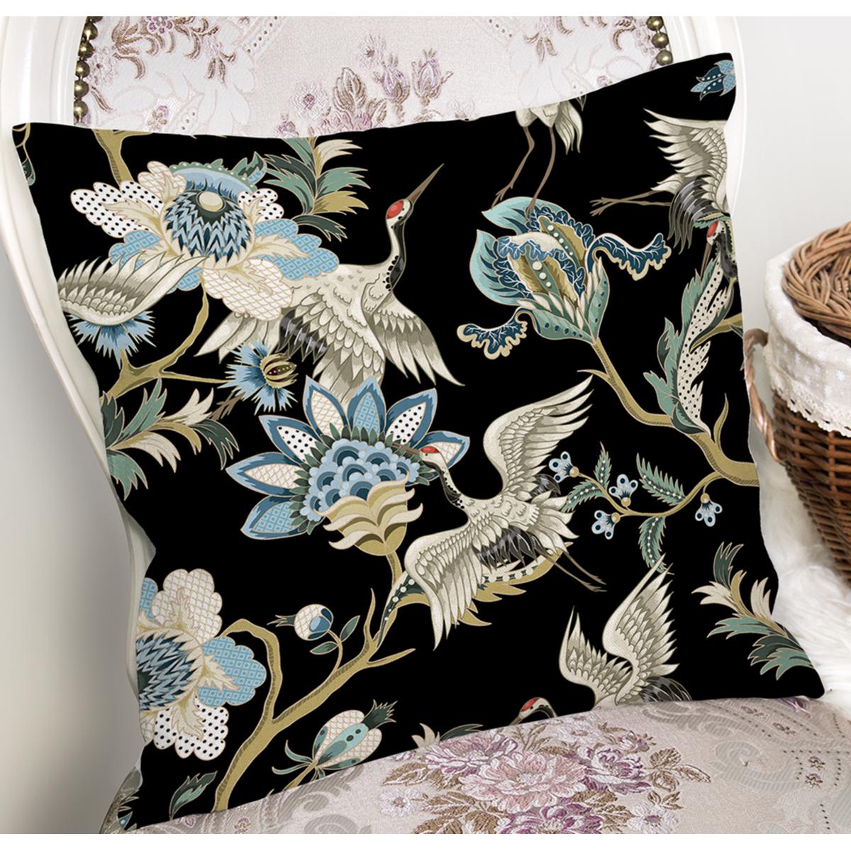 Siyah Zemin Üzerinde Renkli Çiçek Desenli Yastık Kırlent Kılıfı Realhomes