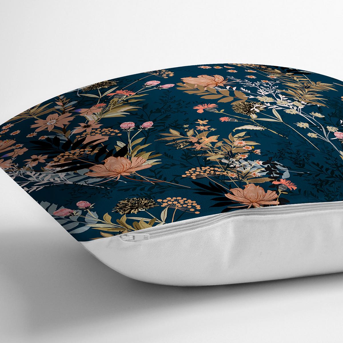 Renkli Zemin Üzerinde Çiçek Desenli Dijital Baskılı Modern Yastık Kırlent Kılıfı Realhomes