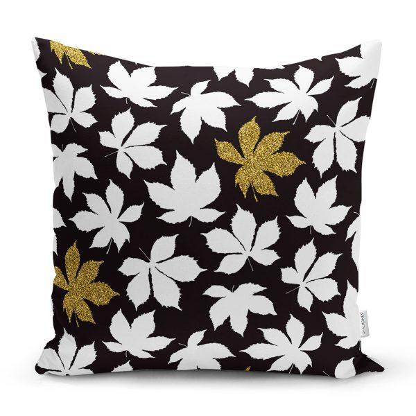 Siyah Zemin Üzerinde Gold Detaylı Beyaz Çiçek Desenli Yastık Kırlent Kılıfı Realhomes