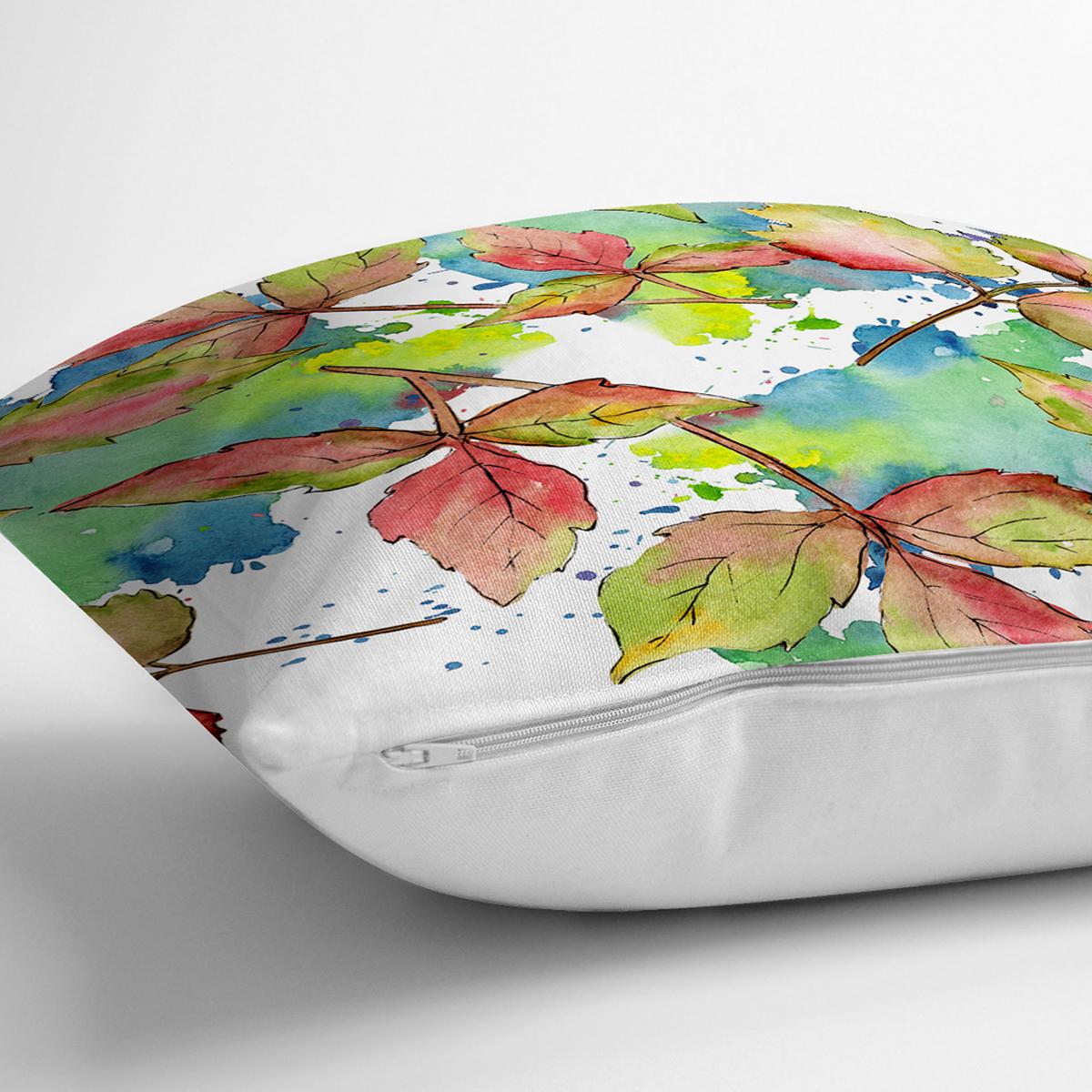 Beyaz Zeminli Renkli Yaprak Desenli Dijital Baskılı Modern Yastık Kırlent Kılıfı Realhomes