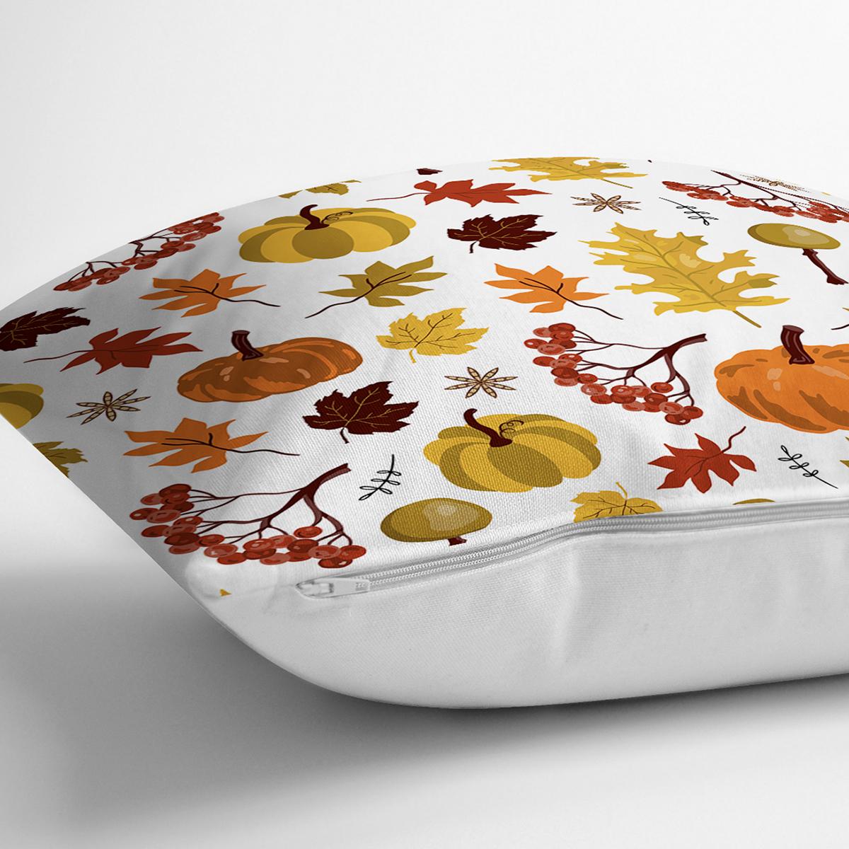 Beyaz Zemin Üzerinde Sonbahar Desenli Bal Kabağı Modern Yastık Kırlent Kılıfı Realhomes