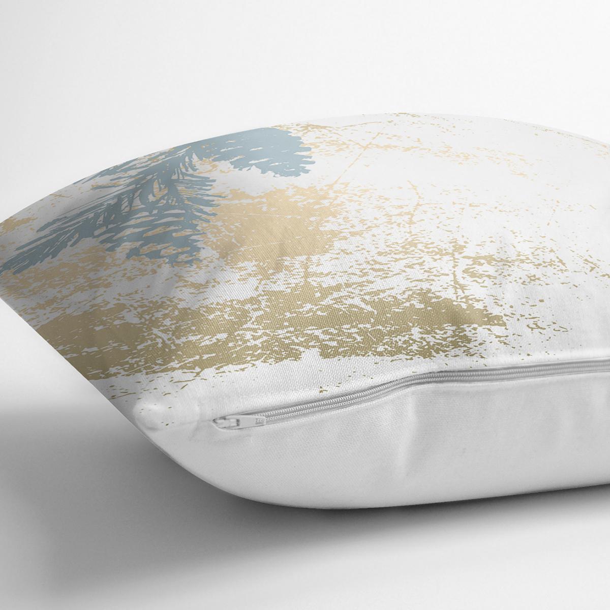 Beyaz Zemin Üzerinde Mermer Desenli Dijital Baskılı Modern Yastık Kırlent Kılıfı Realhomes