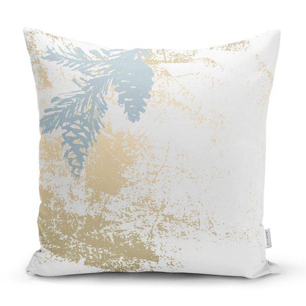 Pastel Zeminli Beyaz Yaprak Desenli Dijital Baskılı Modern Yastık Kırlent Kılıfı Realhomes