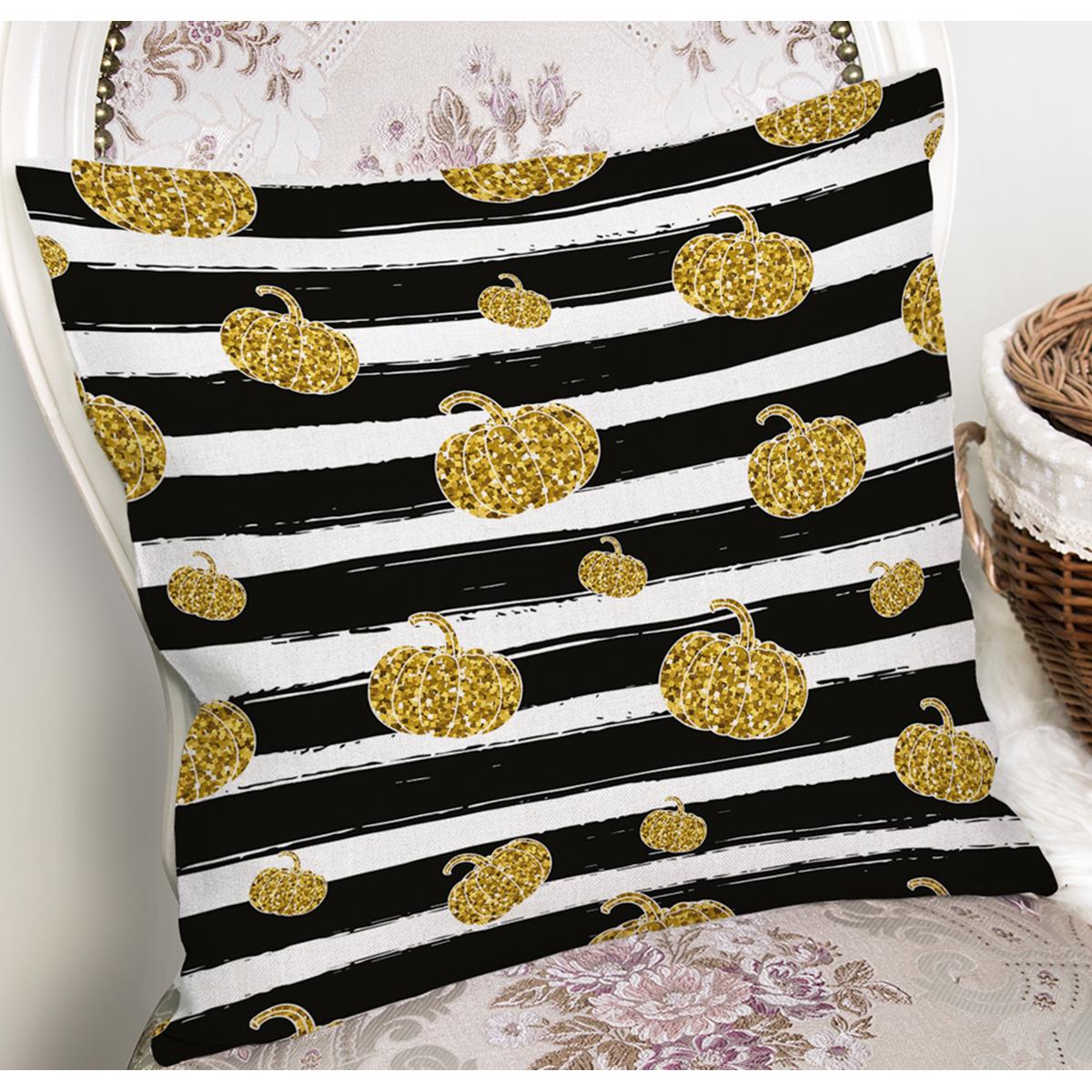Beyaz Zemin Üzerinde Siyah Çizgili Gold Detaylı Bal Kabağı Yastık Kırlent Kılıfı Realhomes