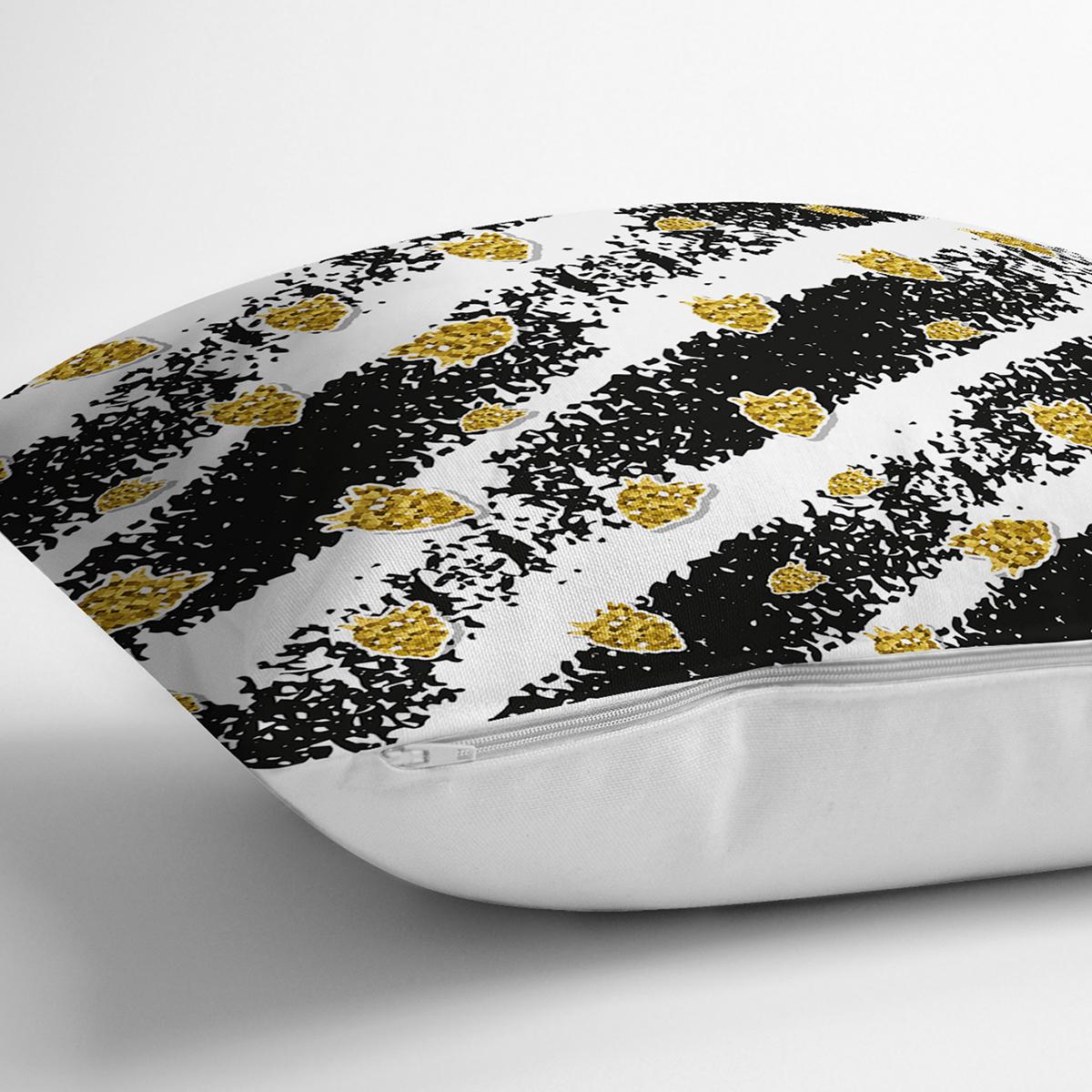 Beyaz Zemin Üzerinde Siyah Çizgili Gold Detaylı Çilek Desenli Yastık Kılıfı Realhomes