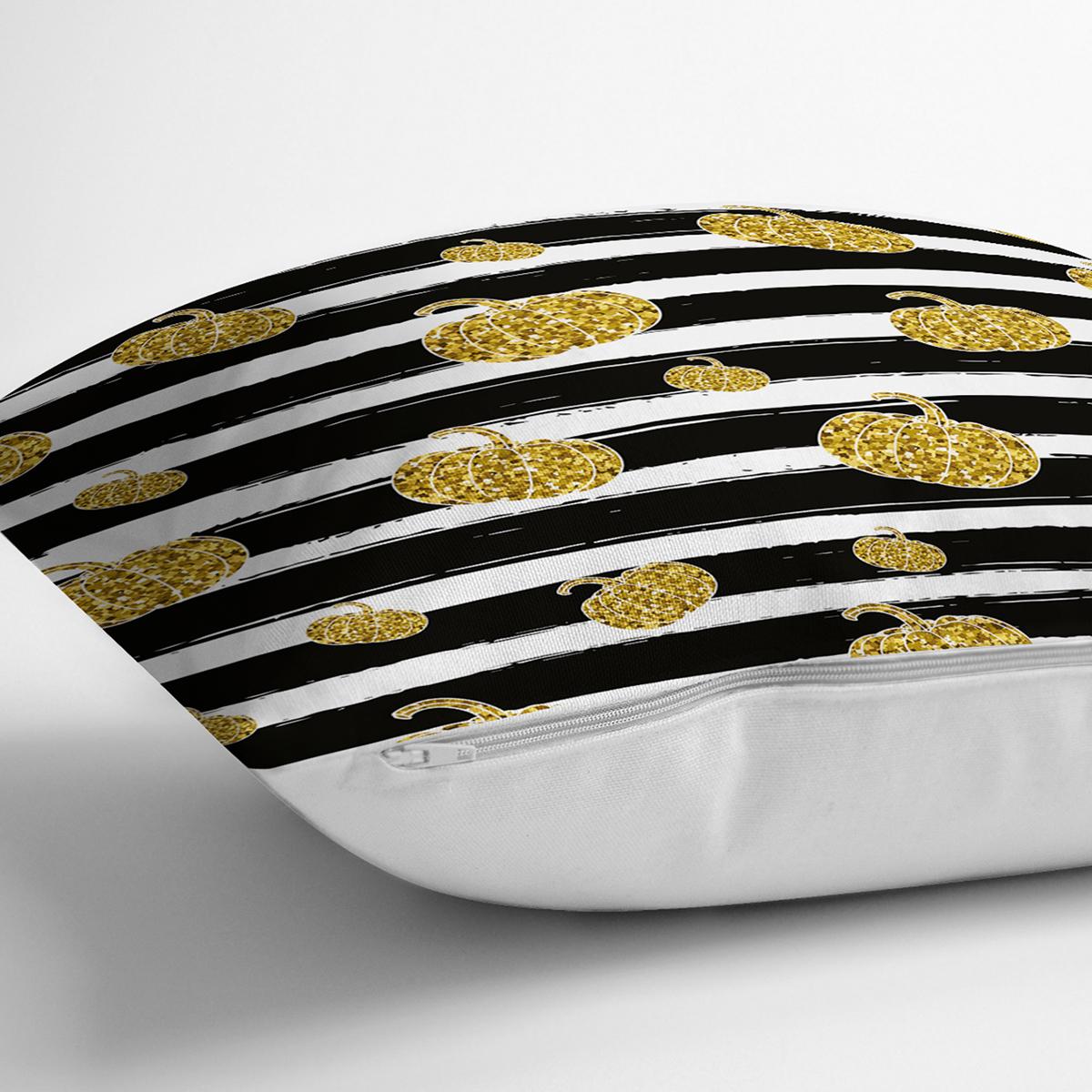 Beyaz Zemin Üzerinde Gold Detaylı Bal Kabağı Desenli Yastık Kırlent Kılıfı Realhomes