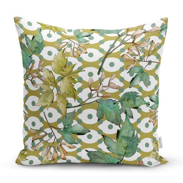 Beyaz Zemin Üzerinde Yeşil Puantiyeli Yaprak Desenli Yastık Kırlent Kılıfı Realhomes