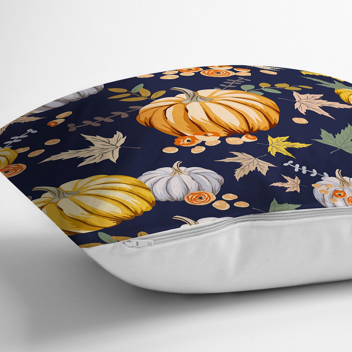 Renkli Zeminli Bal Kabağı Desenli Dijital Baskılı Modern Yastık Kırlent Kılıfı Realhomes