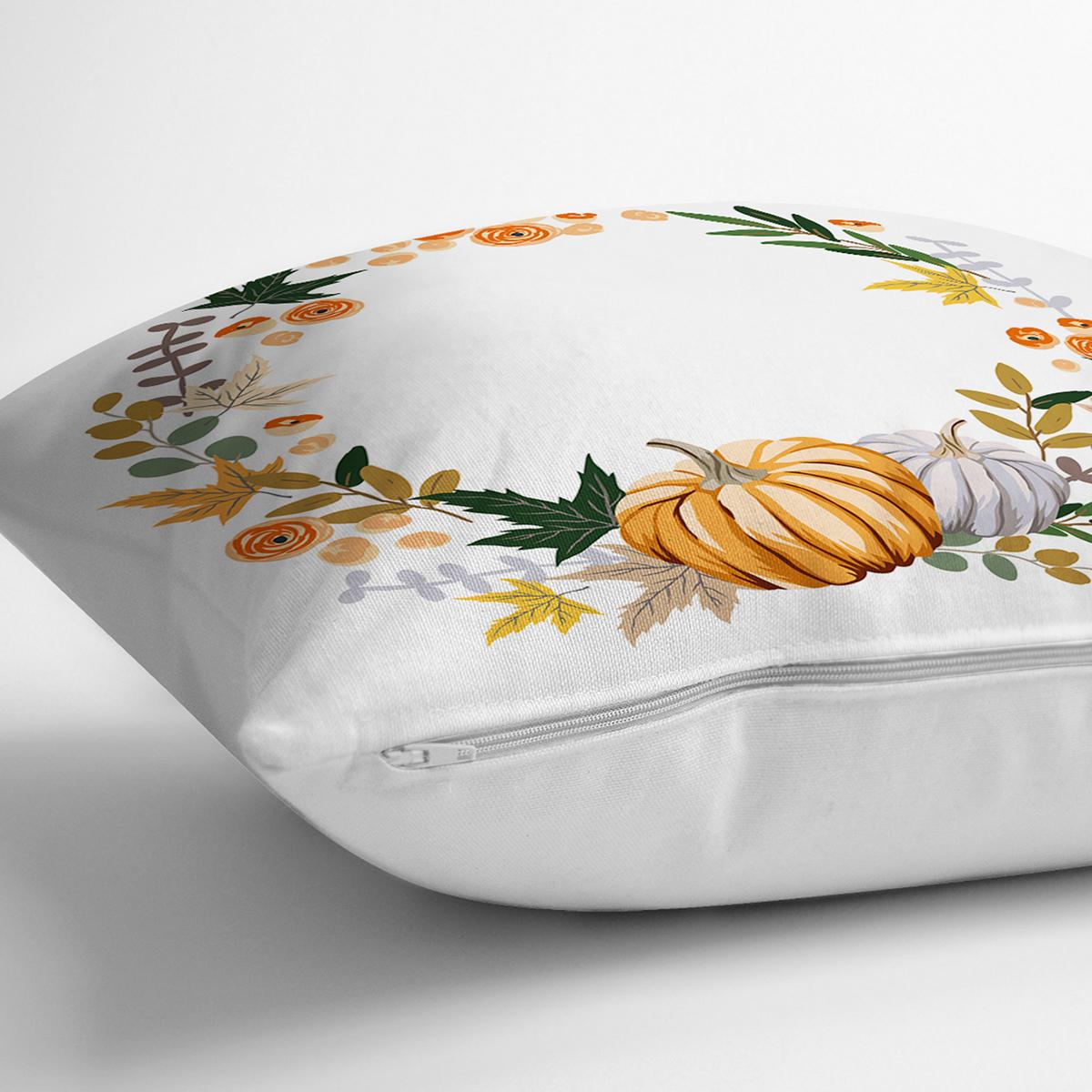 Beyaz Zeminli Bal Kabağı Desenli Dijital Baskılı Modern Yastık Kırlent Kılıfı Realhomes