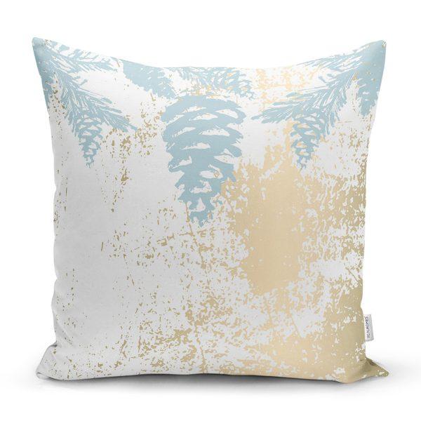 Renkli Zemin Üzerinde Gold Detaylı Mermer Desenli Modern Yastık Kırlent Kılıfı Realhomes