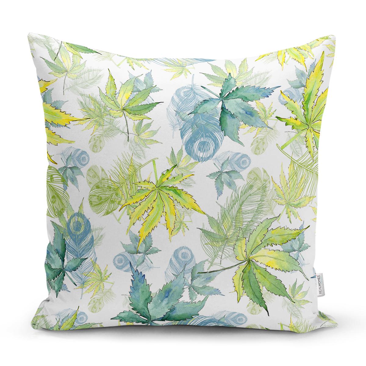Beyaz Zemin Üzerinde Yeşil Renkli Yaprak Desenli Modern Yastık Kırlent Kılıfı Realhomes