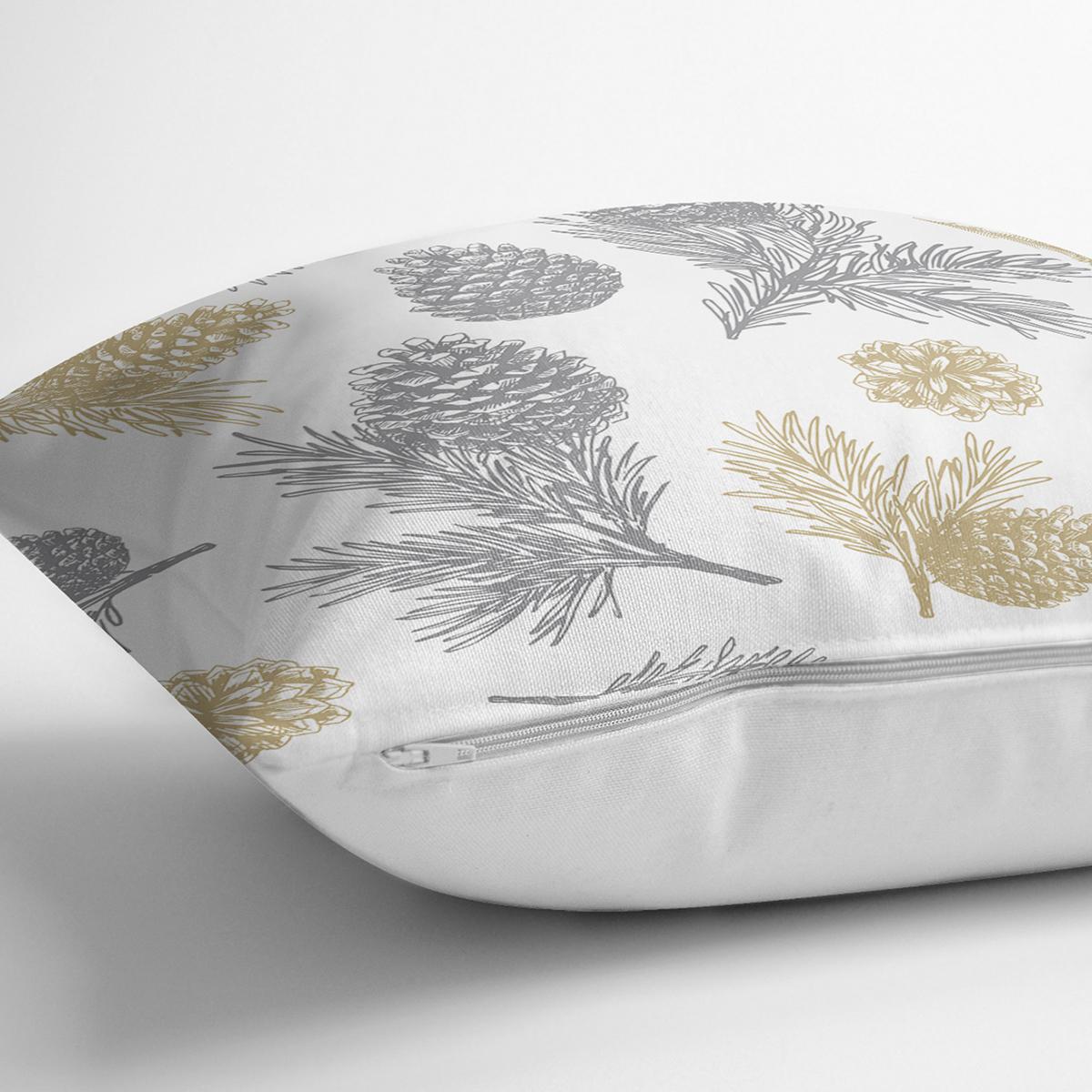 Beyaz Zemin Üzerinde Gold Detaylı Kozalak Desenli Modern Yastık Kırlent Kılıfı Realhomes