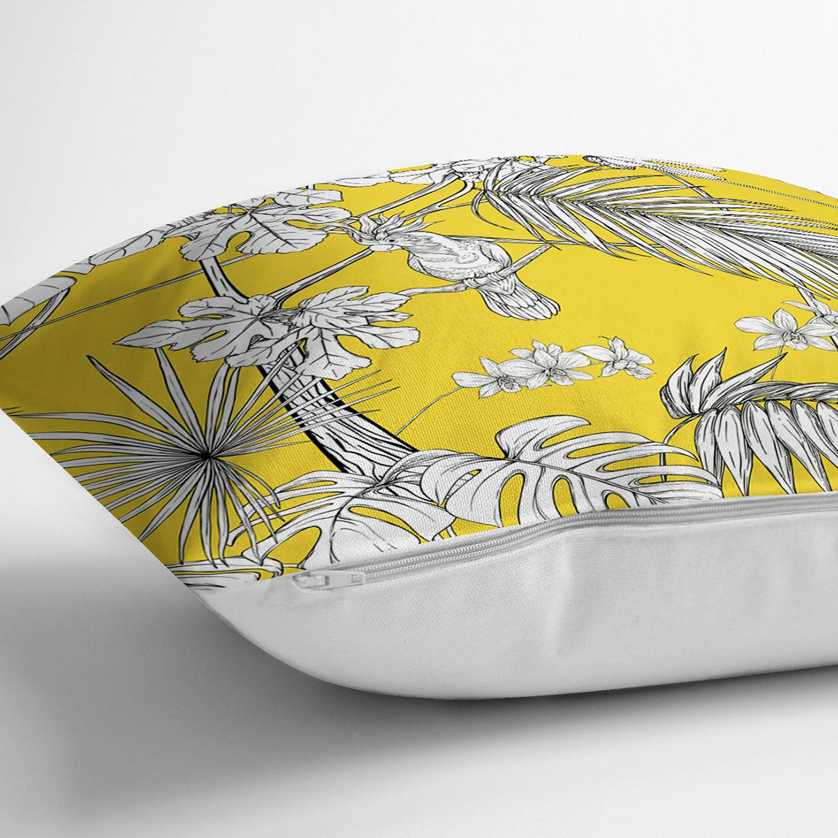 Renkli Zeminli Beyaz Yaprak Desenli Dijital Baskılı Modern Yastık Kırlent Kılıfı Realhomes
