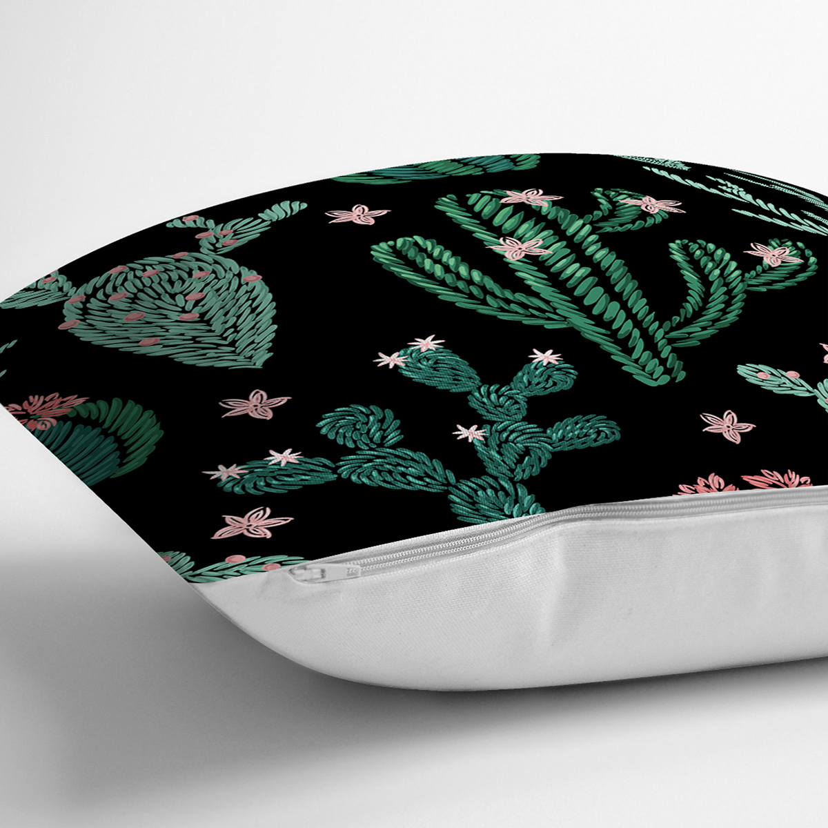 Siyah Zemin Üzerinde Yeşil Kaktüs Desenli Yastık Kırlent Kılıfı Realhomes