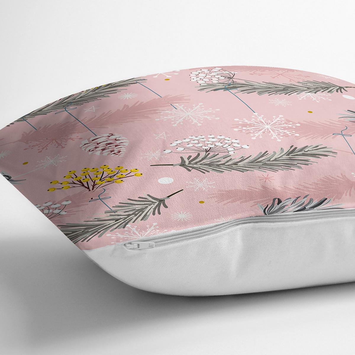 Renkli Zemin Üzerinde Kartane Desenli Yaprak Motifli Yastık Kırlent Kılıfı Realhomes