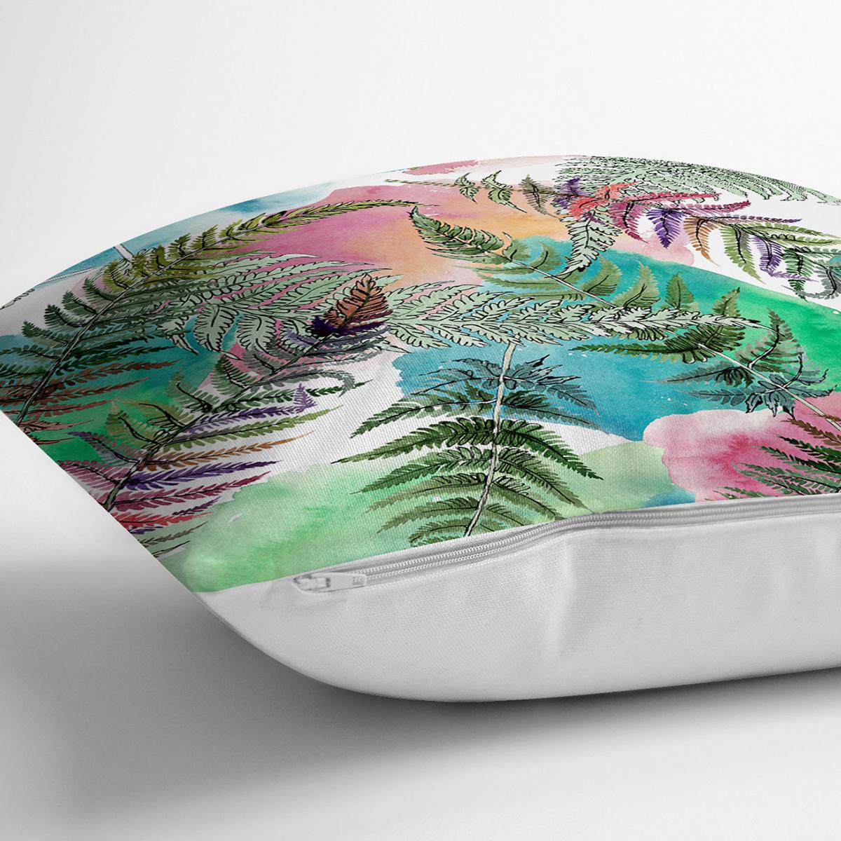 Beyaz Zemin Üzerinde Renkli Soyut Çizimli Yaprak Desenli Yastık Kırlent Kılıfı Realhomes