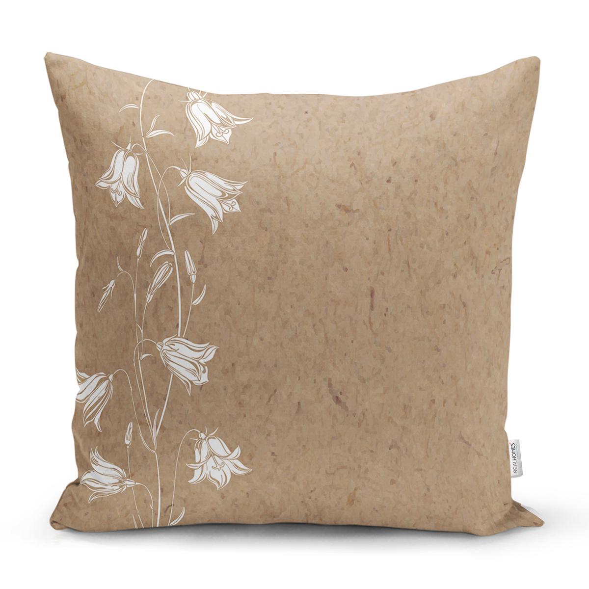 Renkli Zemin Üzerinde Beyaz Çiçek Desenli Yastık Kırlent Kılıfı Realhomes