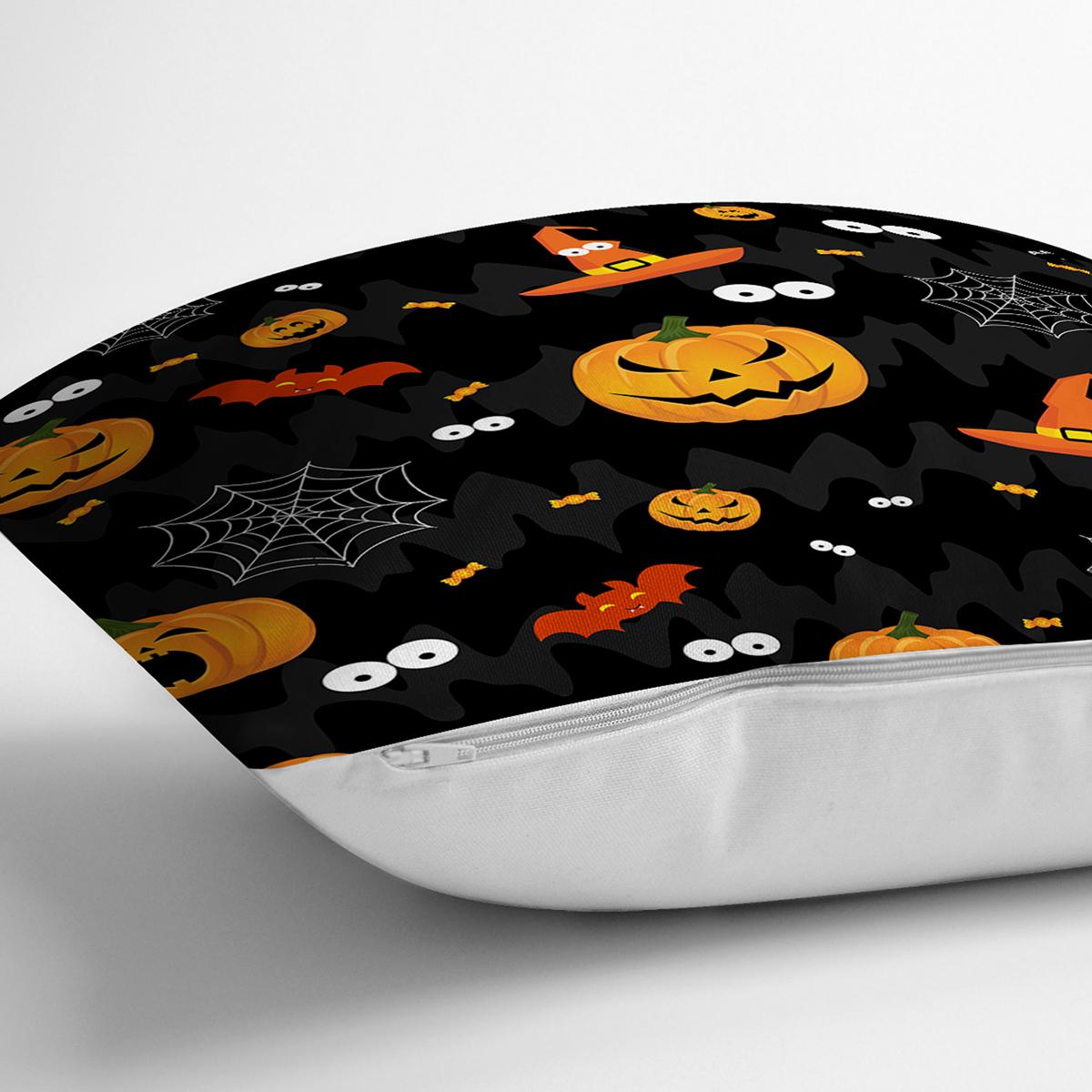 Siyah Zeminli Bal Kabağı Desenli Dijital Baskılı Modern Yastık Kırlent Kılıfı Realhomes