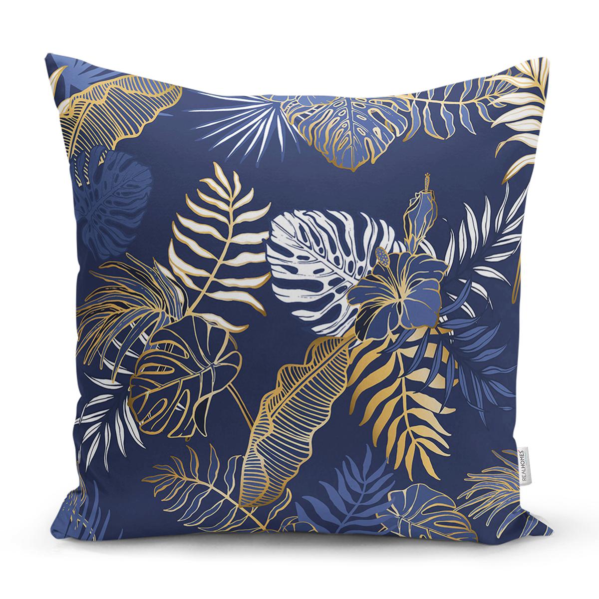 Mavi Zemin Üzerinde Gold Detaylı Yaprak Desenli Modern Yastık Kırlent Kılıfı Realhomes