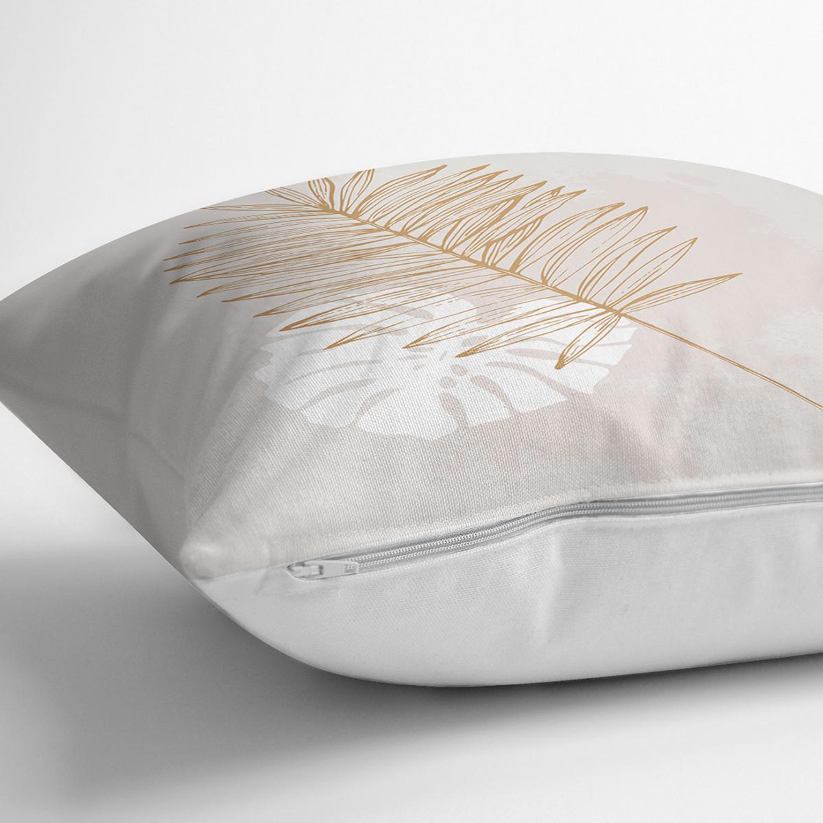 Pastel Zemin Üzerinde Yaprak Desenli Dijital Baskılı Modern Yastık Kırlent Kılıfı Realhomes